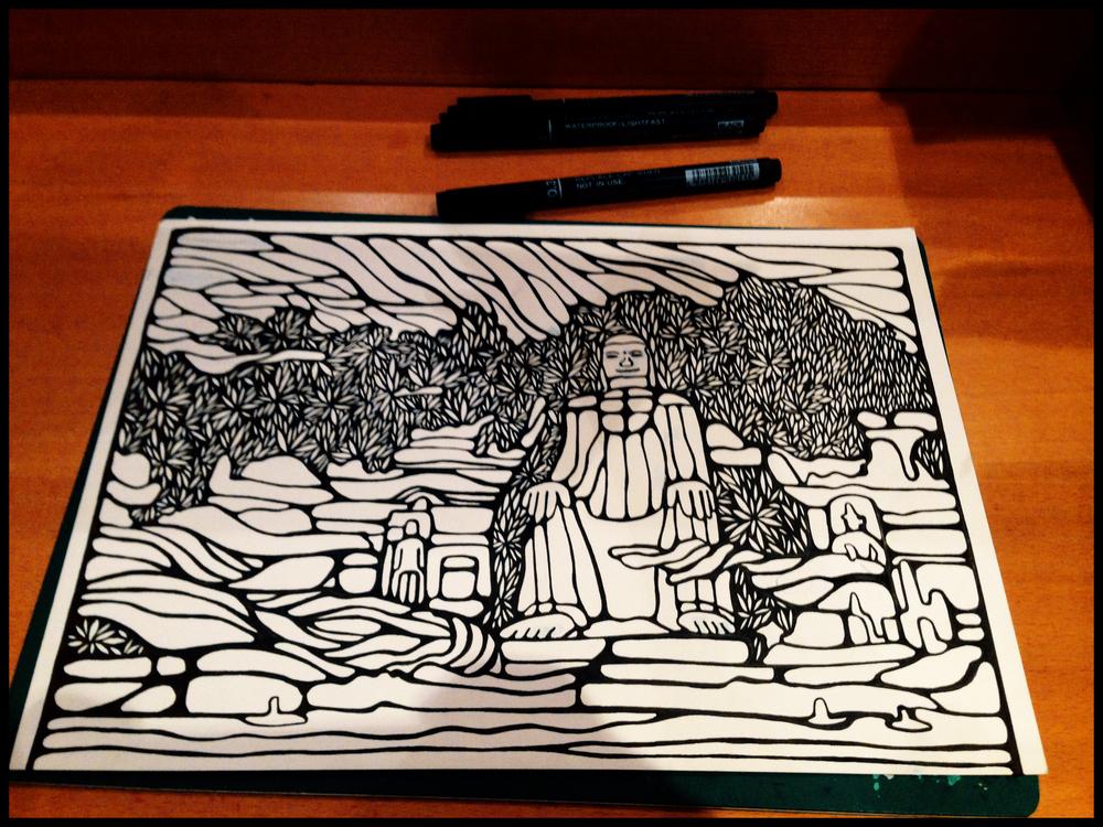 Leshan Buddha China sketch