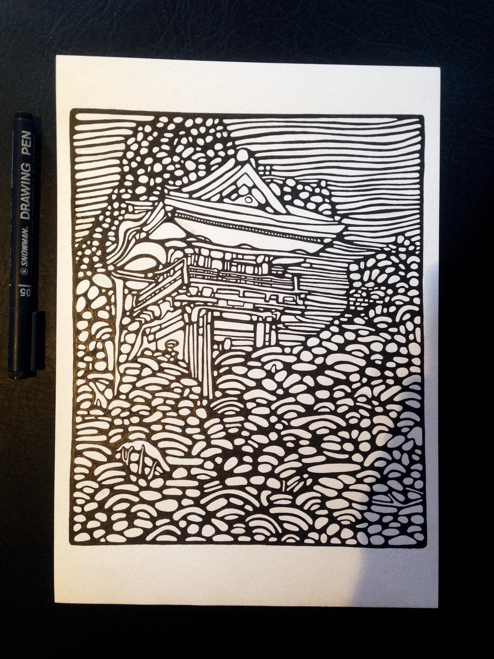 Chinese Garden sketch work finish 2017