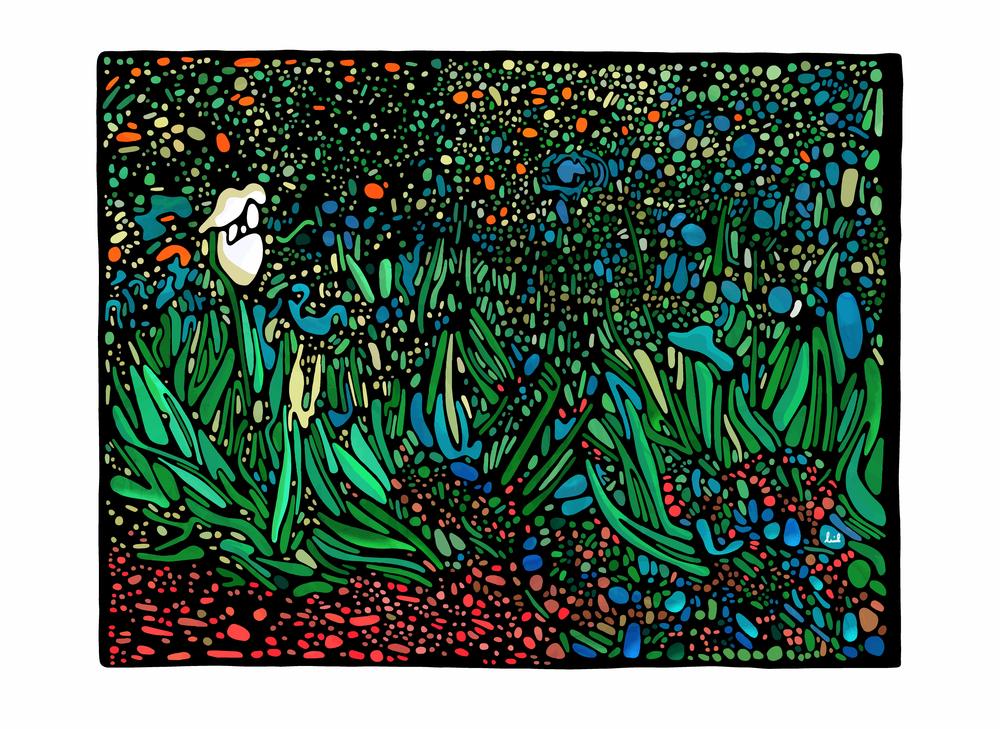Van Gogh Irises growing in a garden / recreation 2017