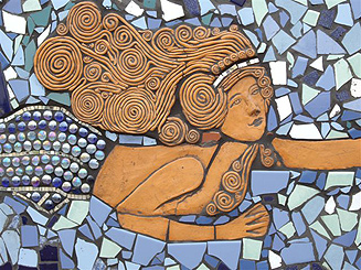 Detail of mermaid in the mosaic