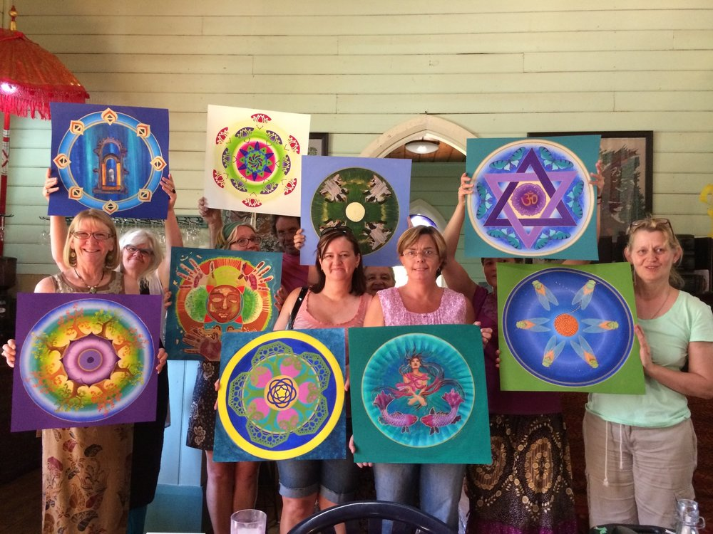 women making mandalas