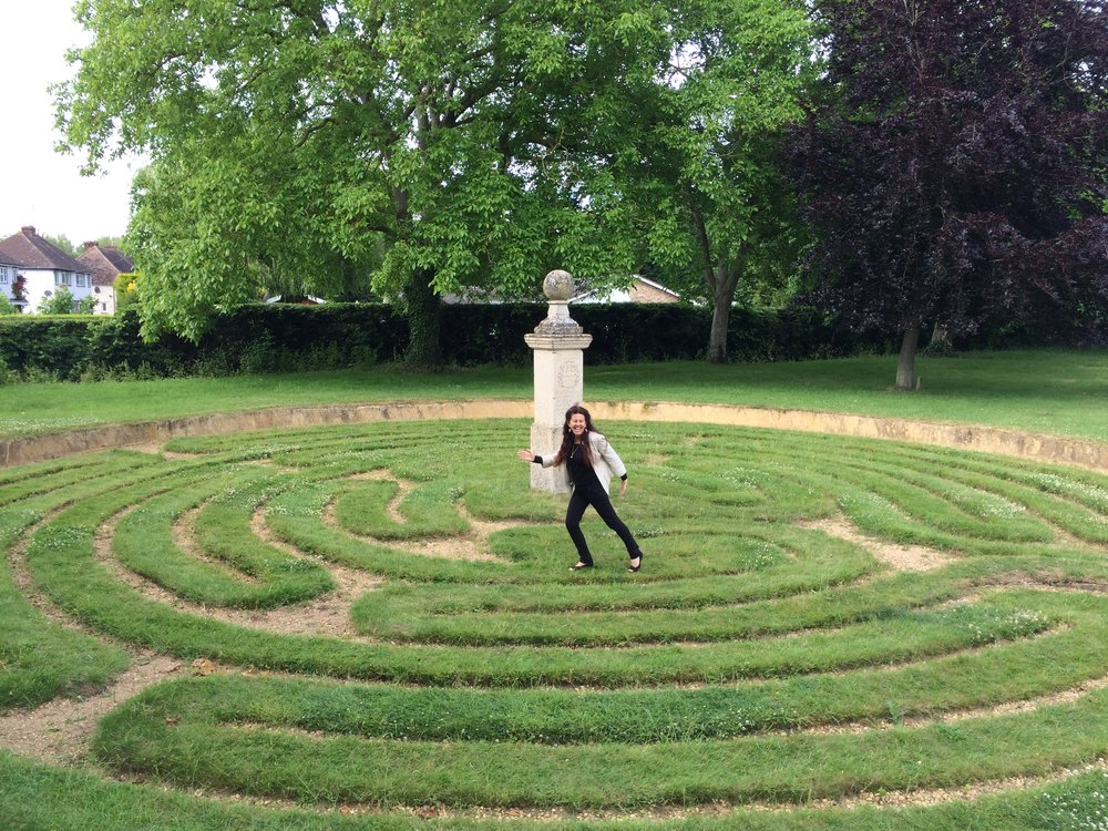 A spiraling pathway of self-discovery the labyrinth is a type of Mandala and a metaphor for life's journey. It is a beautiful form of connecting us with the earth and reuniting us with our environment.  UK Lawn labyrinth.