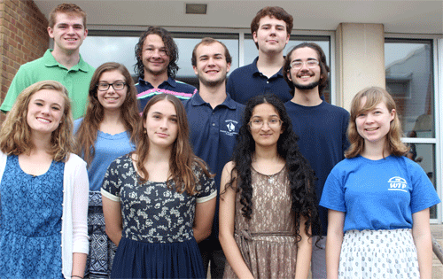(from left, top row): Quinn Massengill, Ben Emmich, Conor Hultman (from left, middle row): Katy Shy, Robinson Tubbs, Nicholas Ezzell (from left, bottom row): Abigail Garmon, Kate Johnson, Ramya Murali, Magdalen Dobson.