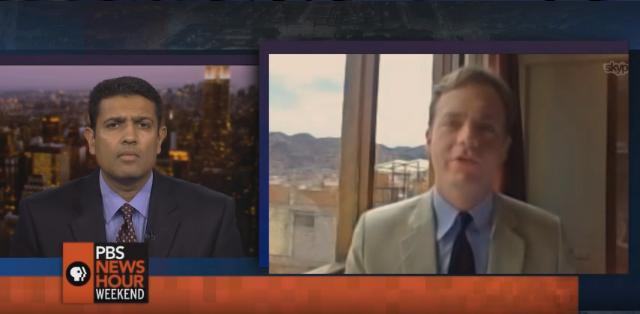 PBS'sHari Sreenivasan (left) interviews MSMS grad William Mauldin (right) on the Dec. 14, 2014 edition of PBS NewsHour.