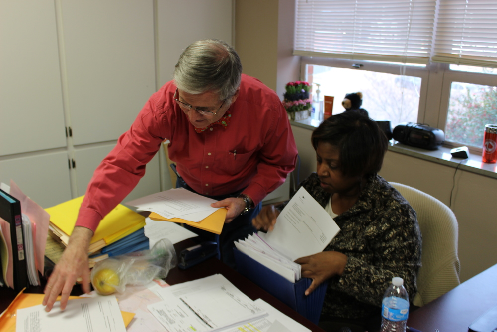 Rick Smith, Director for Admissions and School Advancement and MSMS Admissions Coordinator Sheila Horton work hard to process student applications.