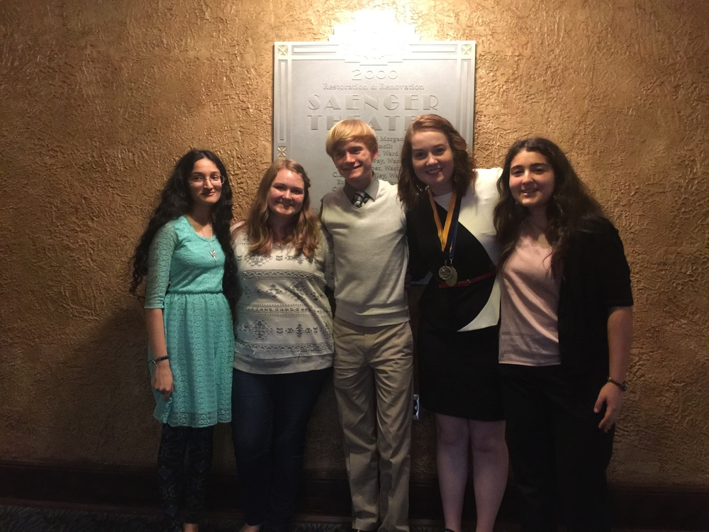Ramya Murali, Kimberly Robinson, Coby Anderson, Emoree Heiselt, and Aylin Memili at the Mississippi Science and Engineering Fair hosted by The University of Southern Mississippi