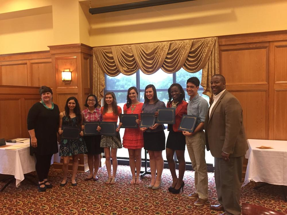 MSMS Director of Academic Affairs, Mrs. Kelly Brown, with MSMS students Kimya Jamasbi, Joy Carino, Katie Shy, Hayley White, India Yarborough, Miya Snell, Jacob Sheward, and MSMS Executive Director, Dr. Germain McConnell.