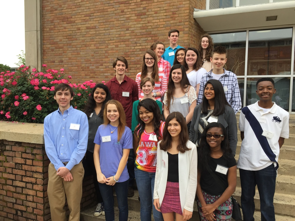 (from top row, left to right): Anthony McClelland, Zoe Fowler, Lillian Fulgham, Britney Casmus, Emily Oakes, Will Pierce, Russell Hatcher, Hillary Gerber, Laurel Yarborough, Wrishija Roy, Emily Waits , Shivani Patel, Tyler Ellis, Jax Dallas, Mary Lee, Jasmine Topps, Georgie Swan, Damare Baker.