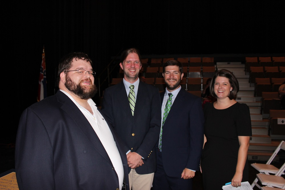 2015 Ceremony of Lights speakers: Mr. Geof Morris (Class of 1997), Mr. Wade Leonard (Class of 1999), Mr. Dillon Allen (Class of 1996), and Mrs. Karen Clay (Class of 1998).