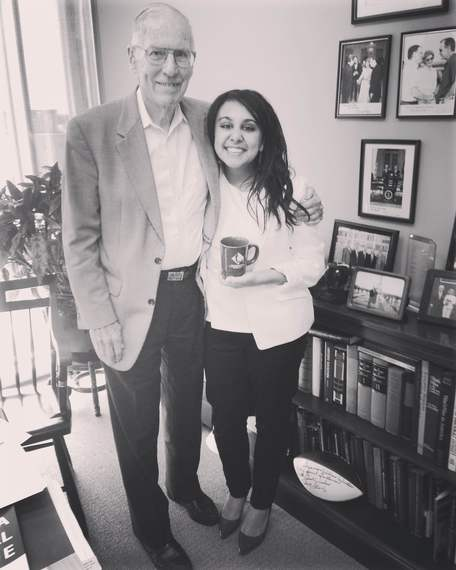 Former Mississippi Governor William Winter and MSMS grad Lamees El-sadek.