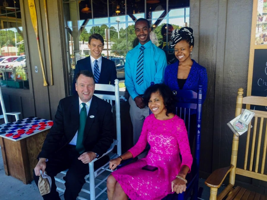 Jasmine King, in blue, posing along with Judge Jim Kitchens and other members of the MSMS mentorship program. Photography by Maliah Wilkinson.