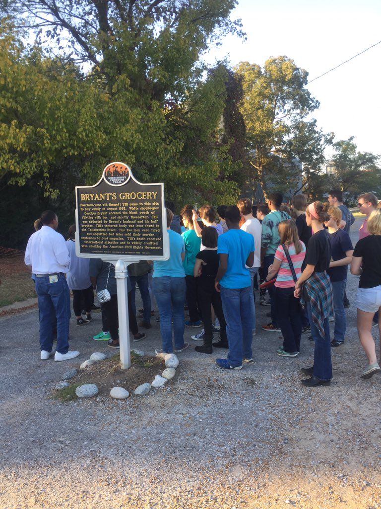 The Blue Notes visit the site of Bryant's Grocery on the Mississippi Freedom Trail.