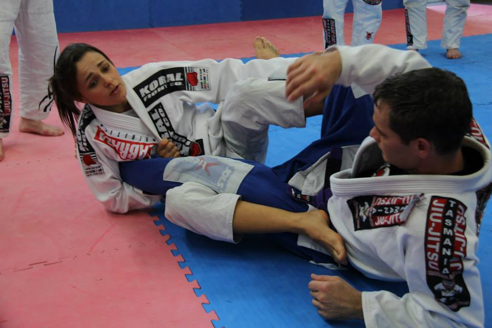 Michelle demonstrating a Footlock on Lance.