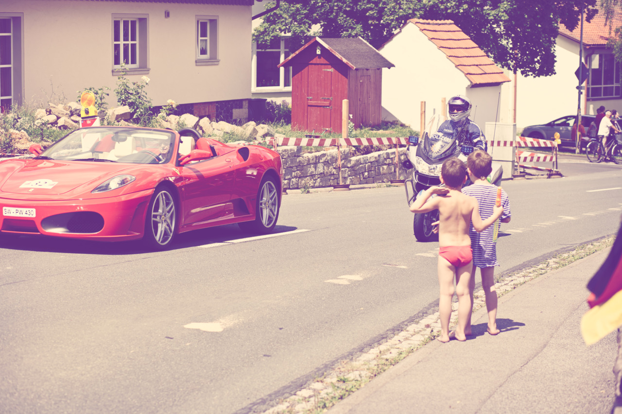 p365, take 189:  Summer, Ferraris, Police motorcycles - recipe for success