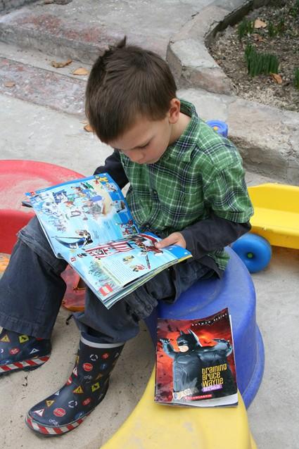 Reading on his birthday 2007
