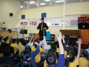 Performing for a Melbourne Primary School. See how excited they are to put up their hands and help in the show. The love the audience participation parts because they get to join in the fun on stage and be a part of the show!