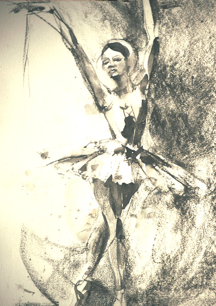 Watercolor & Charcoal, Ballet Dancer