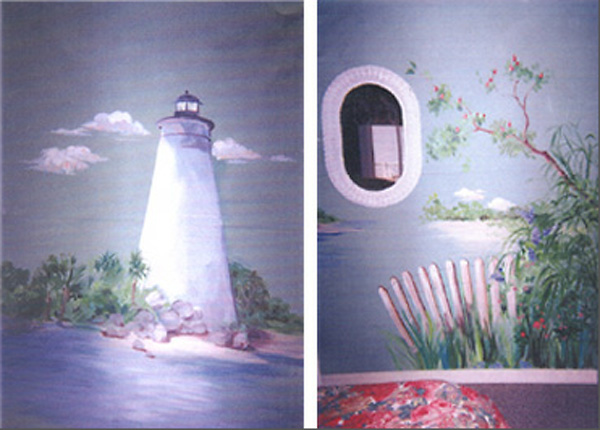 Mural, Lighthouse & Picket Fence