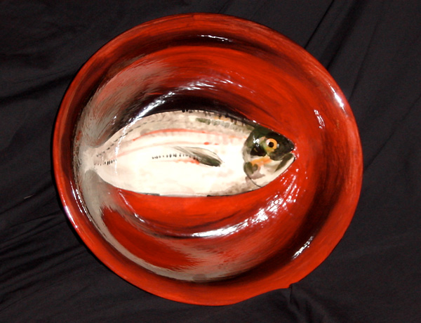 Pottery, Fish with Red Bowl