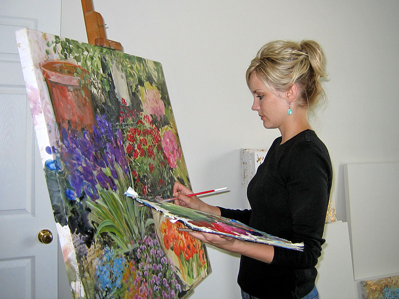 Tiffani Painting an Italian Flower Market Inspired Mixed-Media Painting