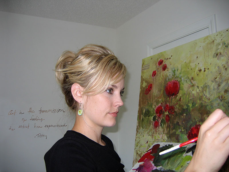 Tiffani Working on a Commissioned Painting