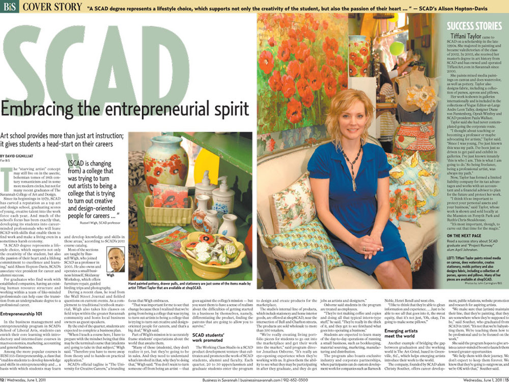 Tiffani Featured in Savannah Morning News