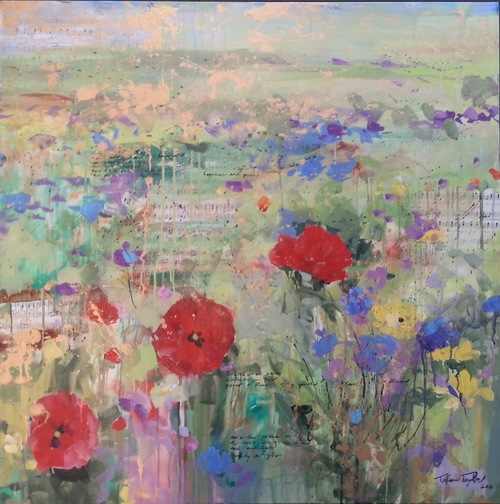 """Wild Flowers in Paris, Poppies: Happiness and Peace…"" 36"" x 36""  An expressionistic symphony of wildflower blooms a midst the architectonic antiquities of beautiful Paris.  Magical and dancing, the blooms glowed with light and poetry.  Music and poetry filters throughout the composition:  The world is aglow with wildflowers in Paris…Poppies a flame of my youth…love…a bloom…and in the patina all of the years, all of the pain and yet Light…Divinity a glow…"