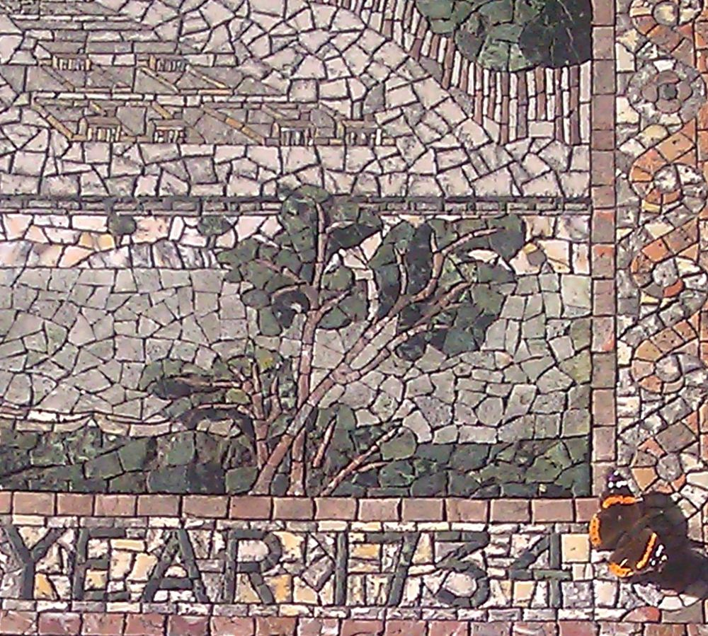 A beautiful moment when a Buckeye Butterfly landed on the mosaic celebrating the year Savannah was settled, in 1734.  This was an inspirational moment for me, as an Artist--an Omen.