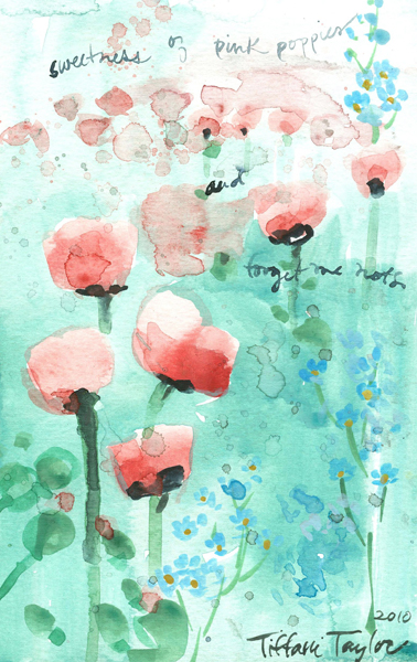 Pink Poppies:  Forget-Me-Nots