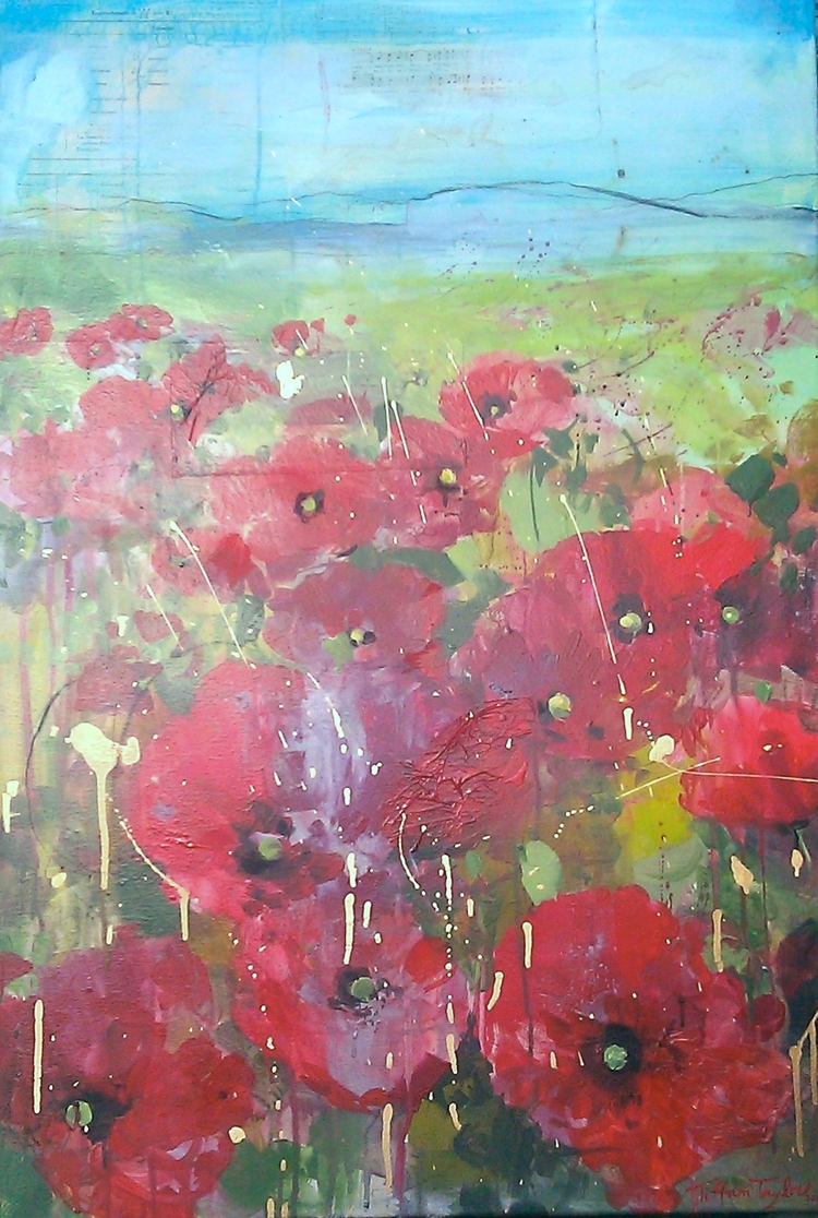 """Expressionistic Red Poppies, Italy"""