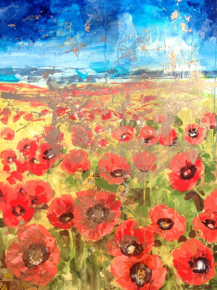 Red Poppies:  Cerulean and Cobalt Sky