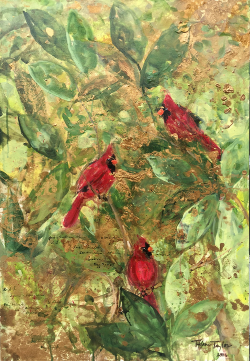 Red Cardinals, Lush Magnolia Leaves: My Spirit