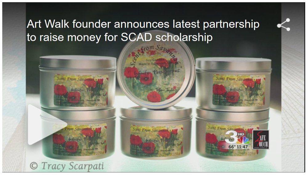 Art Walk founder announces latest partnership to raise money for SCAD scholarship By Kim Gusby Published: November 15, 2016, 1:25 pm Tiffani Taylor, Artist and Owner of Tiffani Taylor Gallery and the founder of Savannah Art Walk, joins us at the table to talk about her latest collaborative that brings Scents from Savannah and Cool Savannah together to raise money for a great cause.