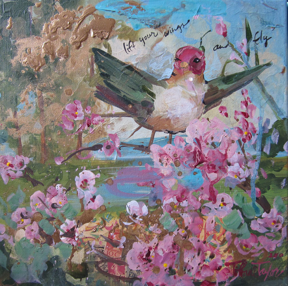 "Sweet Bird: Lift your wings... 12"" x 12"""
