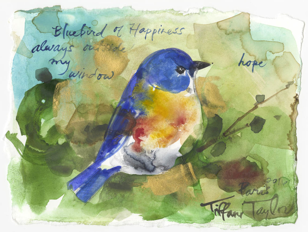 "Happiness: Bluebird of Hope... 6""x 7 1/2'"