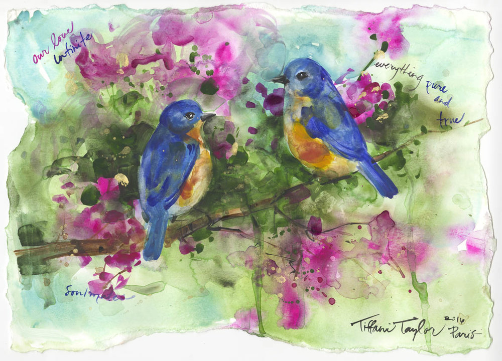 "Bluebirds: Our Love... 11""x 16"""