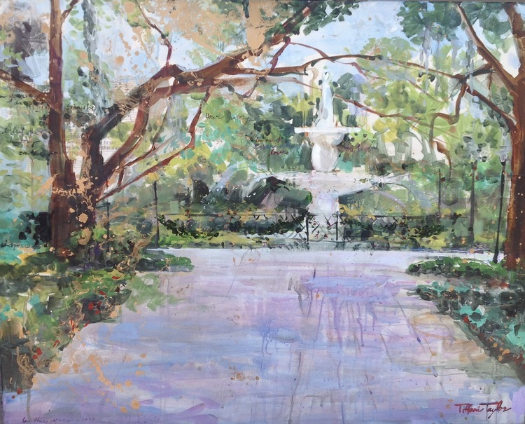 "Savannah Forsyth Fountain: History, Beauty 24"" x 30"""