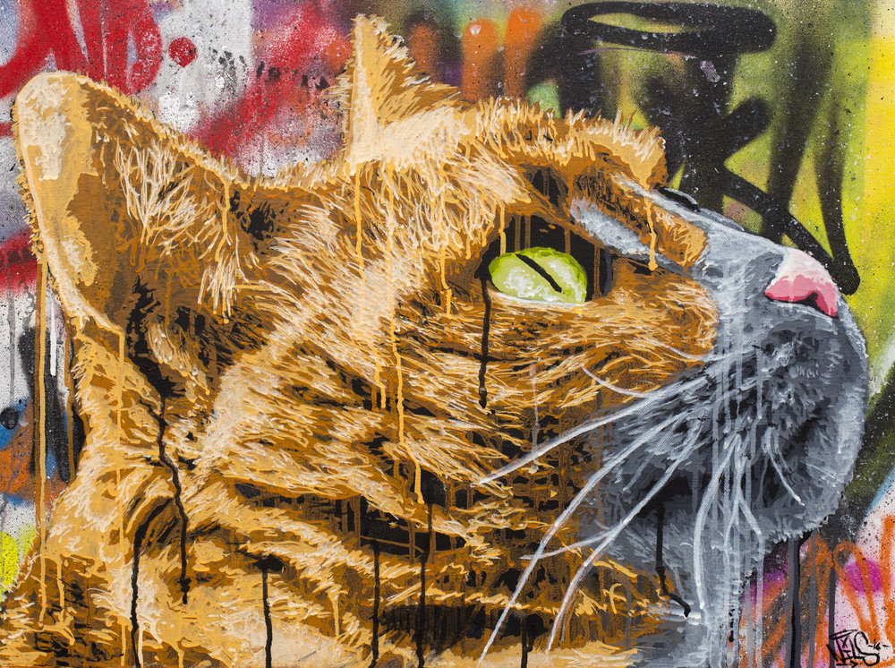 "Housecat , latex on canvas,18x24"""