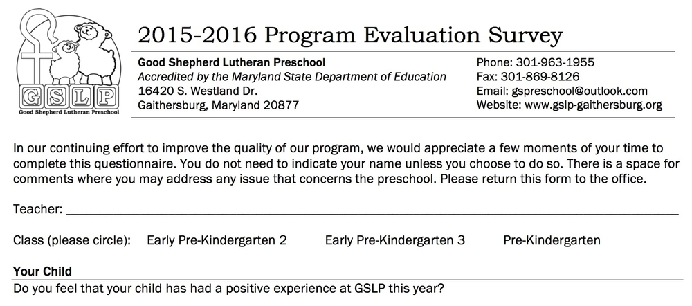 Parent Program Evaluation Surveys  Good Shepherd Lutheran Preschool