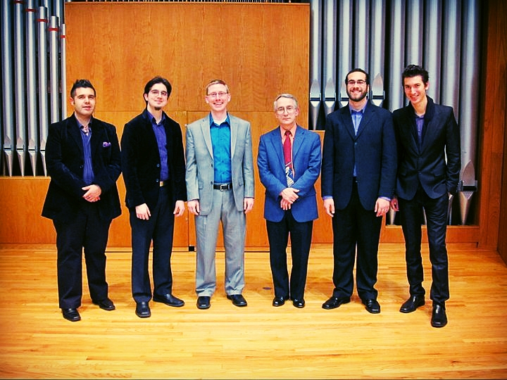 The composer with the members of the Mana Saxophone Quartet at the premiere of Adagio Notturno in 2011 (also pictured: Richard Scruggs, professor of saxophone at Carson-Newman University).