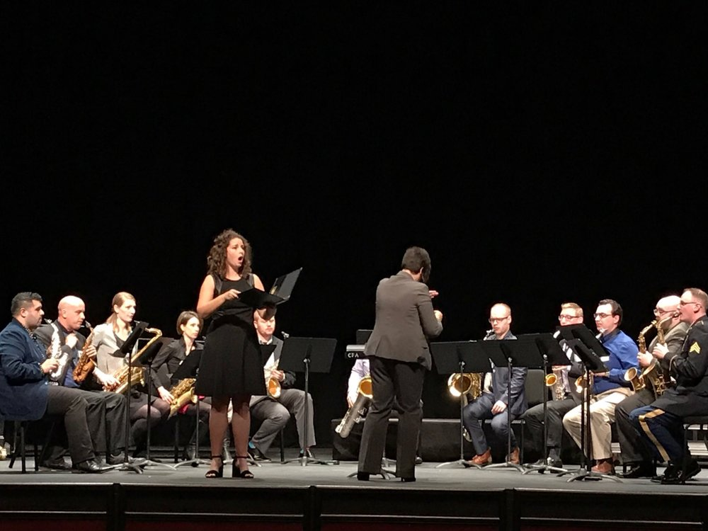 Courtney Ruckman, soprano, and RSO performing at Navy Saxophone Symposium