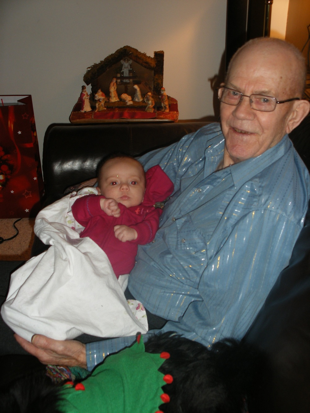 I also love this picture of my grandpa with my cute little baby Autumn