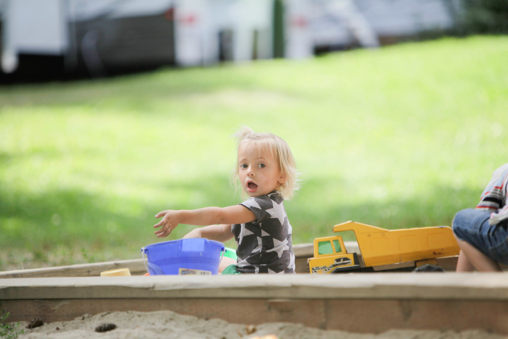 at our campground, our spot was right beside the sand box which the kids loved!