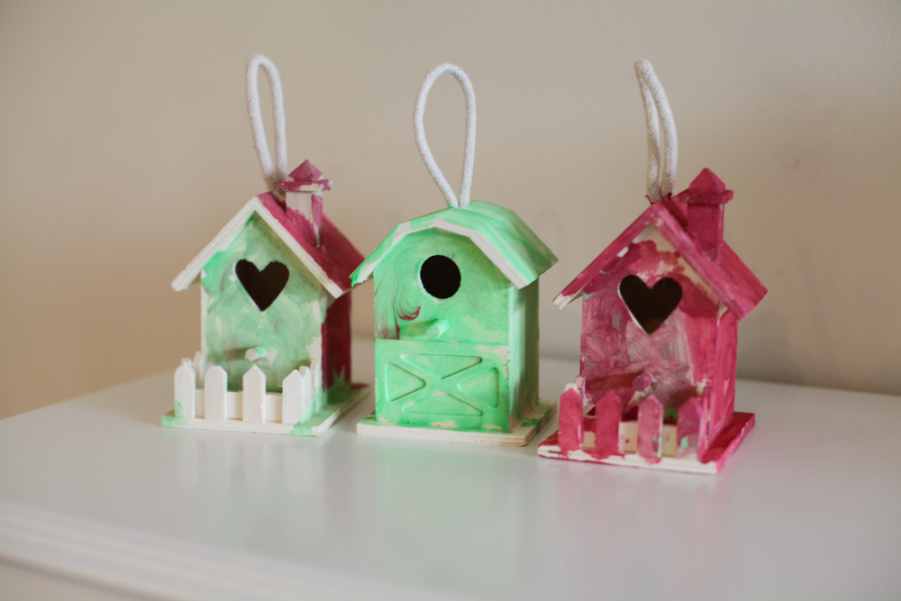 the kids painted these little birdie houses for great grandma, grandma and Auntie barb.
