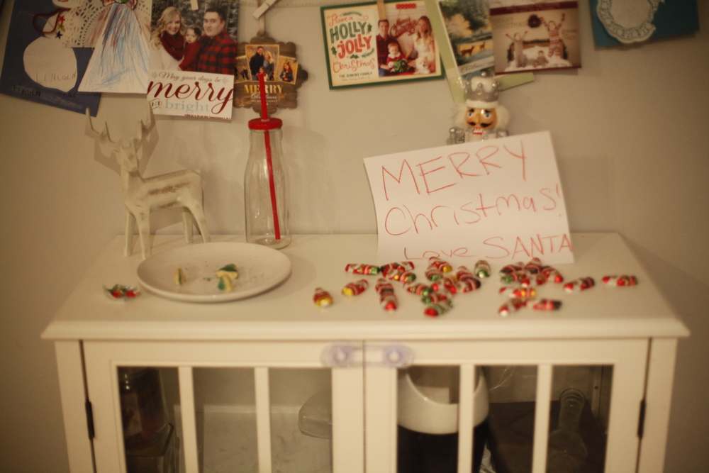 Santa is always so messy! probably because he is in a hurry! He gobbled all the cookies up and milk :)