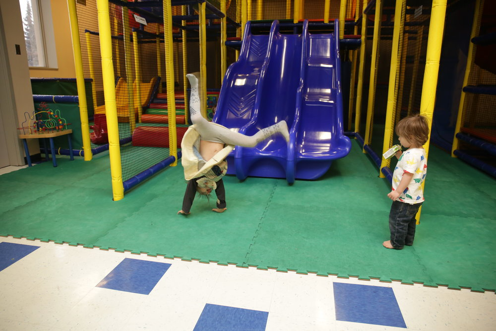 sister is always doing handstands and kart wheels everywhere!