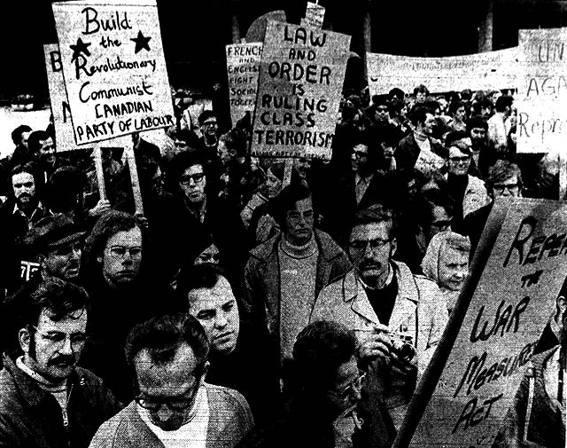 Protesters against the War Measures Act in Toronto, Toronto Telegram, October 19, 1970, via the Torontoist.