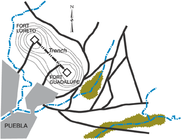 Puebla Battlefield, via Wikipedia.