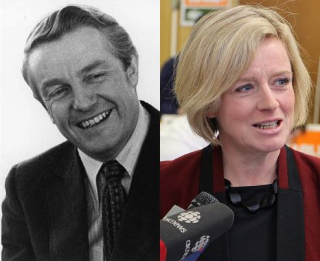 Left:  Peter Lougheed  / Right:  Rachel Notley  via Wikipedia.