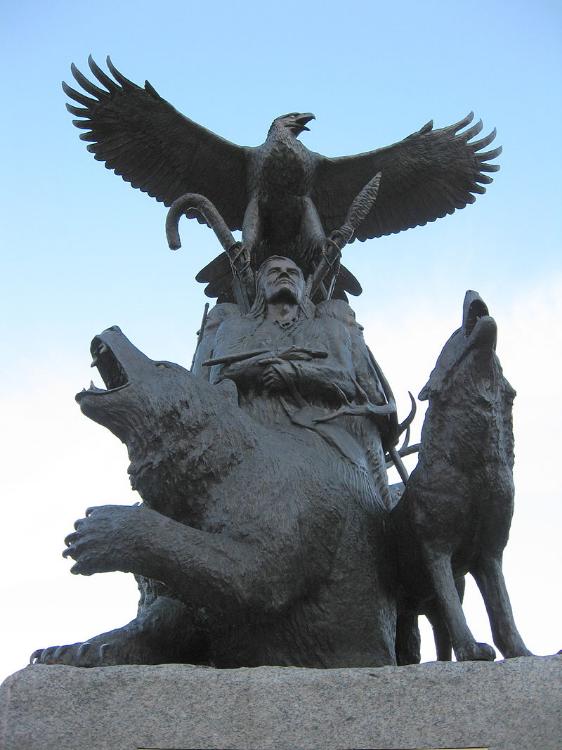 Monument to Aboriginal war veterans in  Confederation Park , Ottawa.